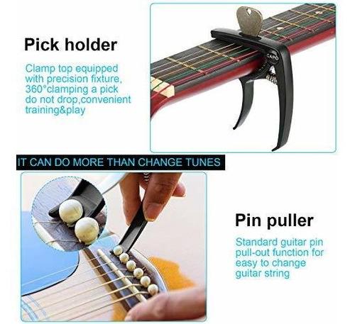 Cejilla//Capo de Guitarra Acero Inoxidable Corredizo Ajustable Cejilla Enrollable para Guitarra Ac/ústica de 6 Cuerdas Cejilla de Cambio R/ápido 2 Piezas Cejilla de Guitarra para Ac/ústica