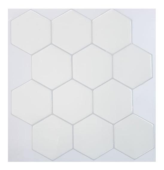 Azulejo Ceramico Autoadhesivo Vinilo Muresco Hexagono Blanco