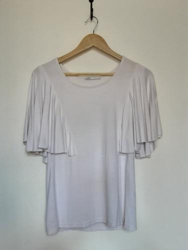 Blusa Italiana Color Blanco Con Mangas Tipo Capa, Talla U