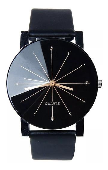 Relógio Unissex Pulseira De Couro Quartzo Luxo Envio Imediat