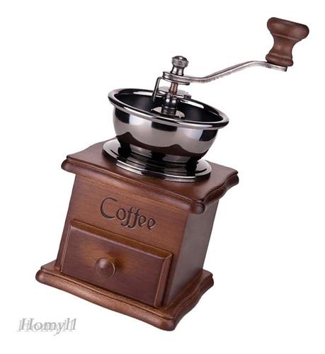 Imagen 1 de 5 de Molinillo Moledor Manual Para Café Con Base En Madera