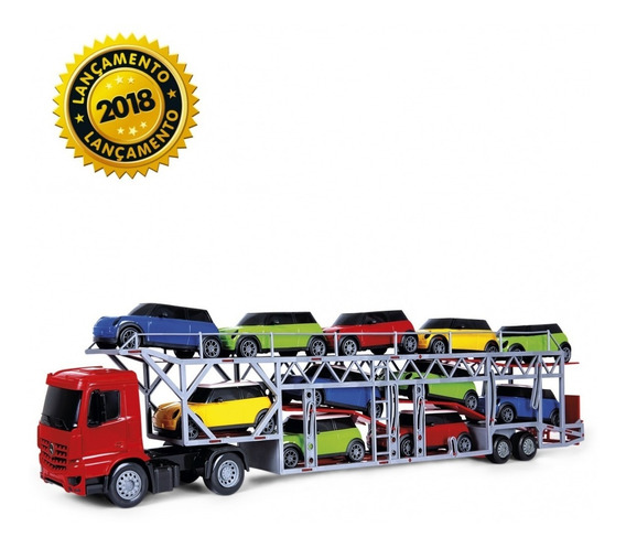 Caminhão Brinquedo Cegonha Com 11 Automoveis Escala 1/32