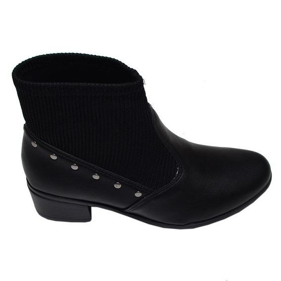 Bota Feminina Ankle Boot Comfortflex Preta