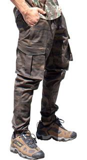 Calça Masculina Jeans Sarja Com Lycra Jogger Cargo V95
