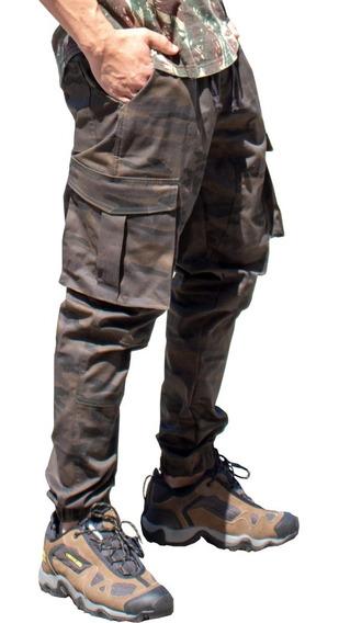 Calça Jogger Masculina Jeans Sarja Cargo Camuflada Elástico