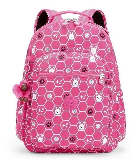 Mochila Escolar Grande Kipling Seoul Pink Envio Grátis
