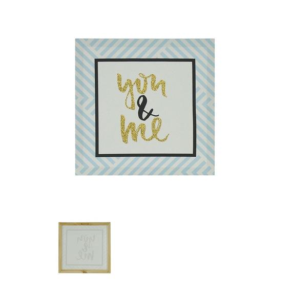 Quadro Decorativo Love Com Glitter 28x28cm Azul - D