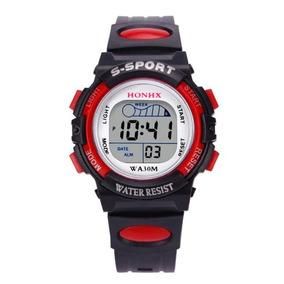 Relógio Infantil Esport Digital Vermelho Com Luz Masculino