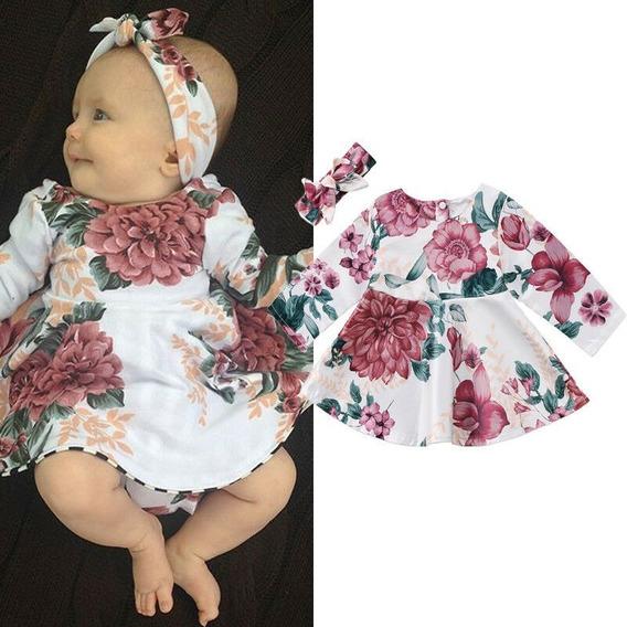 Vestido Infantil Bebê Floral De Manga Comprida + Faixa/laço