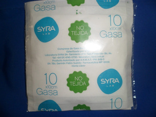 Gasa Esteril No Tejida 10 Por 10 Cm Syra (100 Sobres)