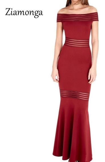 Vestido Longo Feminino De Festa Preto E Vermelho