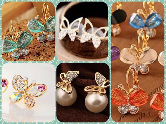 Zarcillos Collares Mariposas Moda Accesorios Ear Cuff