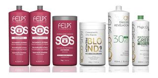 Felps Kit Sos + Matizador + Pó Descolorante + Ox + Brinde