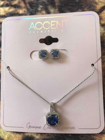 Colar E Brincos Zircônia Azuis Importado Accent Accessories