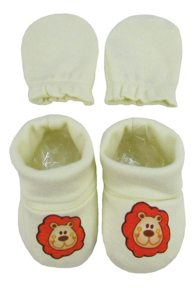 Kit Bebê Masculino Luva E Pantufa Creme Leão