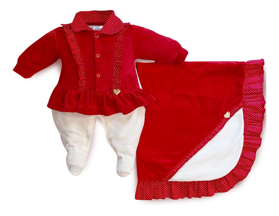 Saída Maternidade Menina Poá Vermelho - Maxibaby