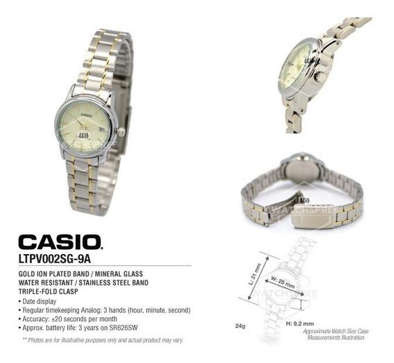 Relógio Casio Feminino Vintage -ltpv002sg- Original -s Caixa