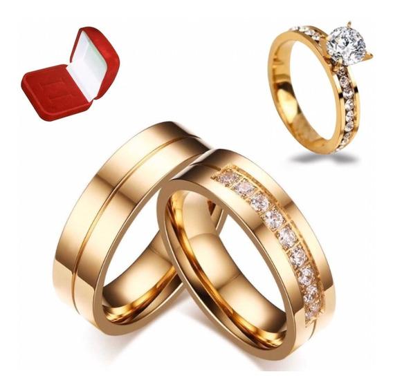 Par Alianças Moeda Antiga Casamento Noivado + Anel Lindo