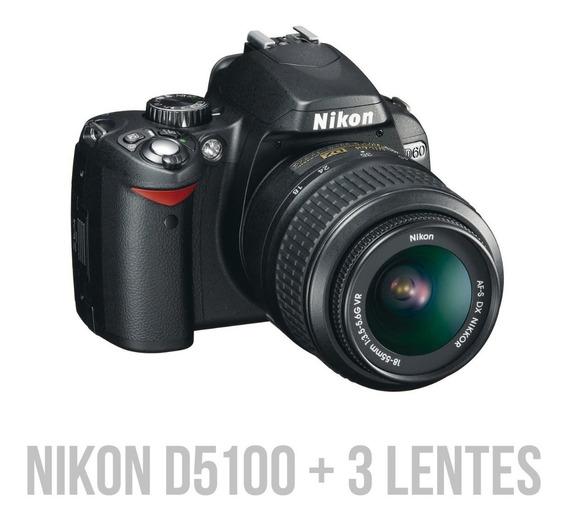 Nikon D5100 + 3 Lentes + Caixa + Manual - Ótimo Estado!