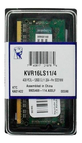 Imagen 1 de 1 de Memoria Sodimm Ddr3l 4 Gb 1600 Kingston