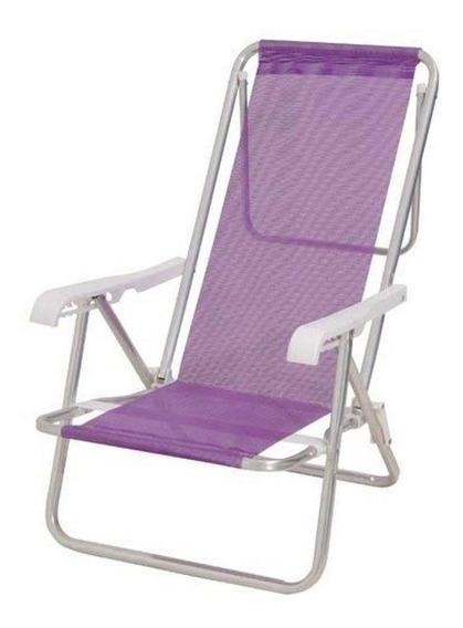 Cadeira Reclinável Alumínio 8 Posições Lilas Mor