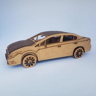 Miniatura Honda Civic 3d Mdf - Pronta Entrega
