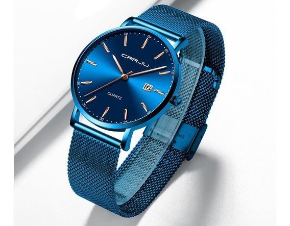 Relógio Masculino Crrju 2161 Azul E Dourado