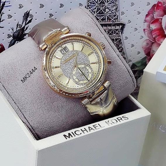 Relógio Michael Kors Mk2444 Champagne Cristal Pave - Sawyer