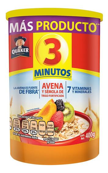 Avena Quaker 3 Minutos 400 Gr