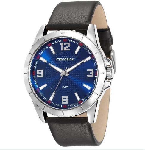 Relógio Masculino Analógico Mondaine Prata 76657g0mvnh1 - Original Nfe - Pulseira De Couro Preta - Tamanho Médio - 5atm