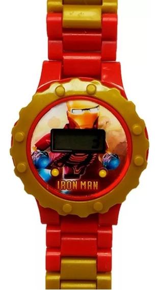 Relogio Homem Ferro Infantil Digital + Boneco Lego