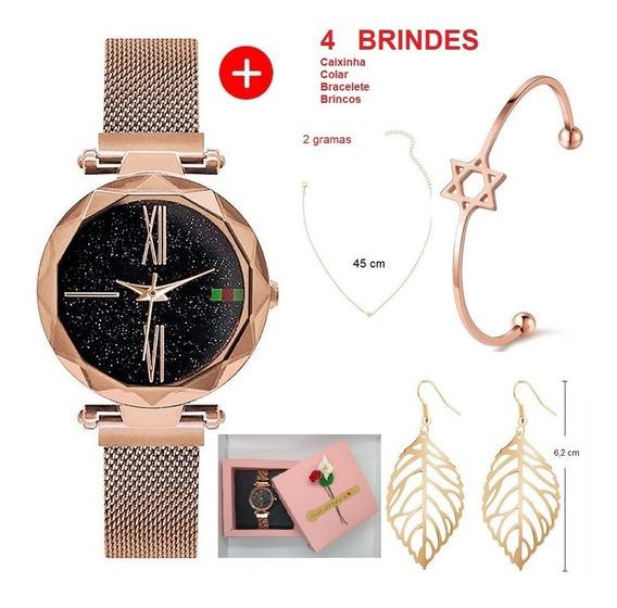 Relógio Feminino + Bracelete + Colar + Brinco + Caixinha