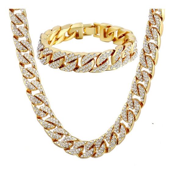 Set Cadena Esclava Diamantada Iced Out Oro Laminado Zc 14mm