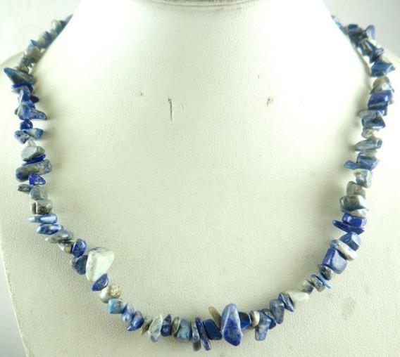 Colar Feminino Pedras Pequenas Lapis Lazuli Natural J3219