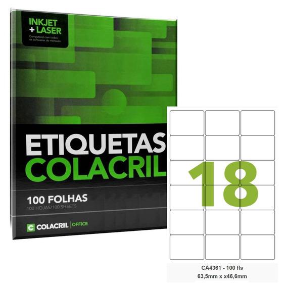 Etiqueta Adesiva A4 Ca4361 63,5x46,6 Mm 100 Fls Colacril