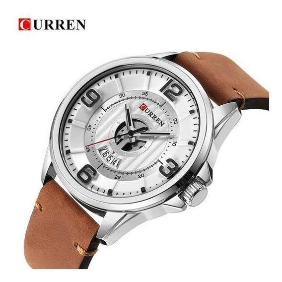 Relógio Masculino Pulseira De Couro Calendário Curren +caixa