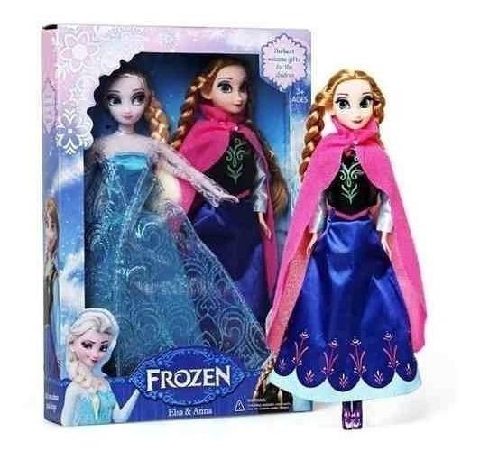 2 Bonecas Frozen, Ana E Elsa 30cm + 1 Pelúcia Olaf Musicais