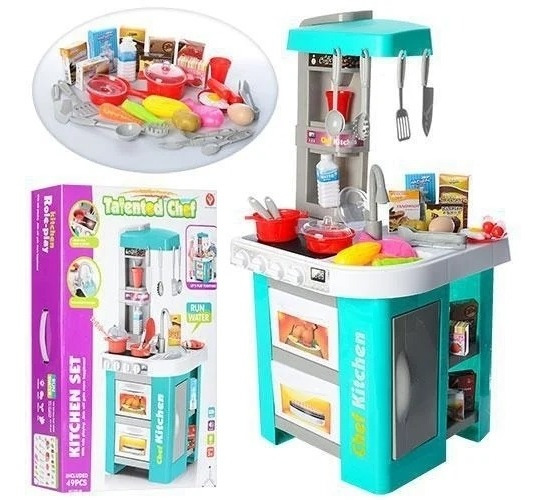 Cozinha Infantil Mini Mercado Forno Fogao Torneira 53 Pçs