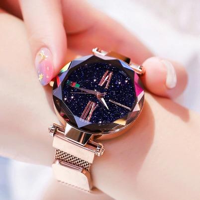 Relógio Pulso Feminino Céu Estrelado Luxo Pulseira Magnética