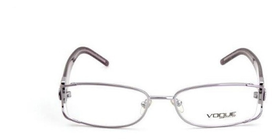 Oculos De Grau Feminino Vogue Quadrado Metal Gliter Prata