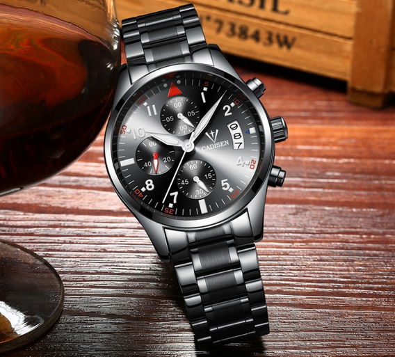 Relógio Cadisen Black Steel Para Homens Esportivos