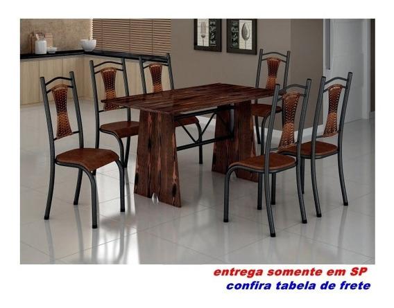 Sala De Jantar Mesa Cozinha Roma 6 Cadeiras