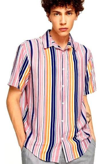 Camisa De Manga Corta De Rayas Verticales Para Hombre Rosa