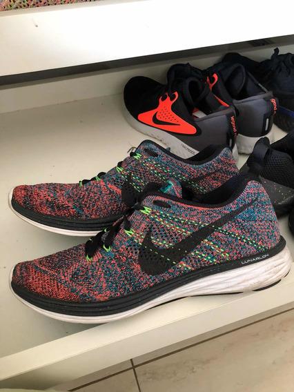 Tenis Nike Flyknit Lunar 3 Multicolor Raro Boost Colecao
