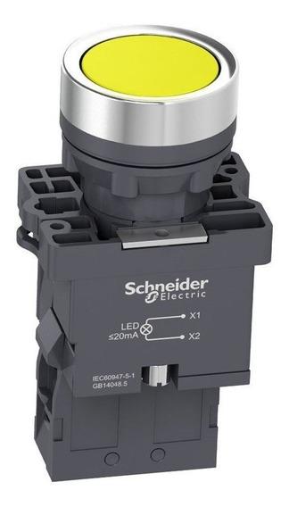 Botão De Impulsão Iluminado 22mm 1na Xa2ew35m1 Amarelo Schneider
