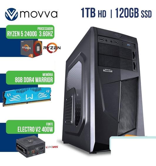Computador Amd Ryzen 5 2400g 3.6ghz Mem. 8gb Ddr4 Ssd 120gb Hd 1tb Fonte 400w Linux - Mvwr5a320s1201t8