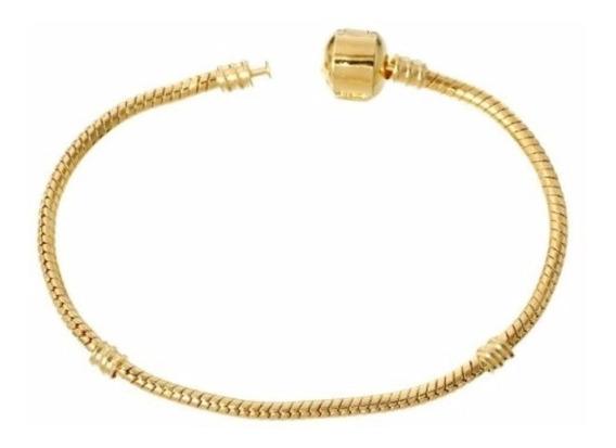 Pulseira/ Bracelete Estilo Pandora Ouro 18 Banho.para Charme