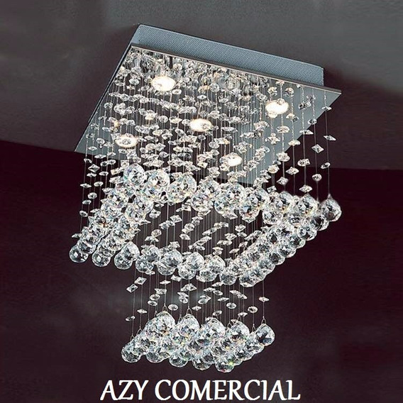 Lustre Pendente Quadrado Cristal Legitimo+lampadas Leds