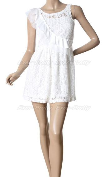 Vestido Corto13 Mini Blanco De Encaje Talle L