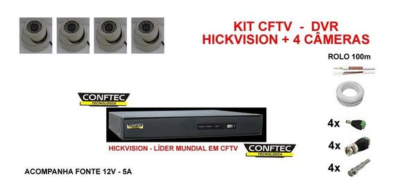 Kit Dvr+ 4 Câmeras Dome Diel+ Fonte+ 100mcabo Aquicompras